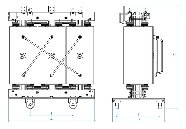 Сухие трансформаторы ALFATRAFO чертеж